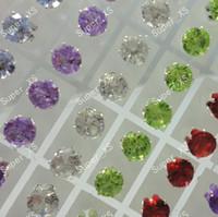 72pcs / Set Zircon strass en acier inoxydable Boucles d'oreilles Diamètre 6.9mm pour les femmes en gros bijoux Lots LR210 Livraison gratuite
