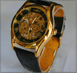 Fashion Casual Mens gold Black Skeleton Hand Wind Mechanical Watch Brand Men's Manual Analog Dress Wristwatches