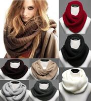 al por mayor bufanda infinito cuello de punto más caliente-Moda de invierno caliente Infinity 2 Círculo de cable Knit Cuello Cuello bufanda larga Mantón
