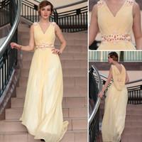 Cheap Chiffon evening dress Best Sleeveless Sweep Train prom gown