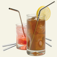 Wholesale Bent Stainless Steel Drinking Straws for wedding party gift Washable reusable