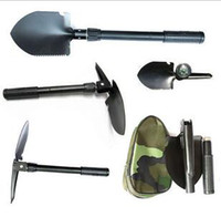 Wholesale 20pcs Small multi function engineering folding shovel spade Ho sawing multi folding shovel garden tools black army green