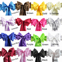 Wholesale 10 pieces Wedding Party Banquet x108inch Lycra chair cover spandex chair cover Satin Chair Cover Sash Bow color