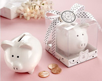 bank giveaways - Li l Saver Favor quot Ceramic Mini Piggy Bank in Gift Box with Polka Dot Bow centerpieces wedding giveaway wedding accessories gift