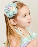 Headbands america rose - Europe and America The Latest Children Hair Accessories Rose Flower Lace Baby Girls Hairband Kids Head Band Hair Band QZ14