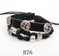 Retro style Unisex Party Braided Leather Bracelet Saint Flowers Bronze Metal Rivet Retro Style Plain Black & Coffee Charm Bracelets B76