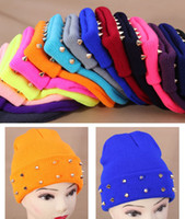 Wholesale 2013 New Fashion Autumn and winter knitted jelly fluo men s hat plastic rivets women s cap colors W4189