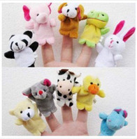 10 different animal models baby talks - 2016 new Retail Baby Plush Toy Finger Puppets Talking Props animal group set