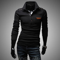 Wholesale New men button decorative chest skin restoring ancient ways is the long sleeved T shirt design