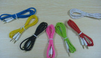 Universal   1000pcs colorful 1M 3.5mm to 3.5mm audio Car Aux Extension Fabric Braided braided Cable for mp3 CD player speskers