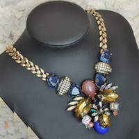 Wholesale New European style Bronze Alloy leaves shape chain crystal resin gem rhinestone flower pendant Necklace pc