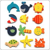 Wholesale 48pcs set Creative Wooden Fridge Magnet Refrigerator Magnet Numbers For Baby Children Educational EMS