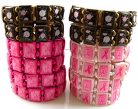 aids bracelets - 24pcs AIDS Breast Cancer Awareness Red Ribbon Wood Bracelets Charm Jewelry