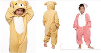Wholesale new kids style the relax bear anime cospaly costme flannel and fleece onesie pajamas unisex sleepwear