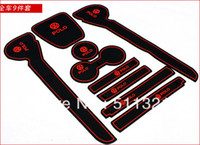 other other other VW polo PVC 2011 2012 door gate slot pad mat, tank gasket cup mat pad 9pcs lot auto accessories car trim