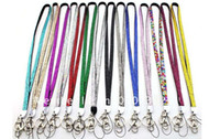 Promotion badge carabiner - Mixed different colors random New Rhinestone Bling Crystal Custom Lanyard ID Badge Cell Phone and Key Holder