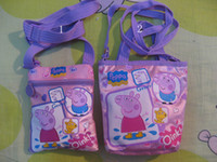 Wholesale New Arrival girl handbag Peppa pig Cartoon Bag purple satchel children handbag Size X14 CM