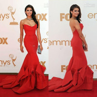 Classic nina dobrev red dress - OEM Factory Price On Sale Sexy Red Nina Dobrev mermaid sweetheart strapless Emmy Awards Formal Evening Dress Celebrity Dresses