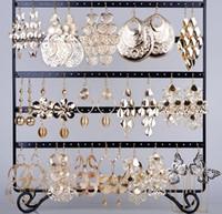 Wholesale 24 pairs Earring Jewelry Gold Hook Mixed Styles Flower Leaf Heart Women s Dangle Earrings Eardrop Free Ship E149G