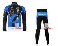 Wholesale Winter clothes GIANT Winter long sleeve cycling jerseys pants bike bicycle thermal fleeced wear set Plush fabric
