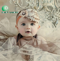 Wholesale New Girl Baby Hair Band Infant Toddler Peacock Feather Flower Headband Headwear Colors Available