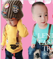 Wholesale Korean Small Baby Kids Long Sleeve T Shirt False Straps Cartoon Tiddler Blue Yellow Boys Girls Casual Tshirt Year Topshirt QZ21