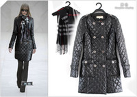 Wholesale New new PU Leather coat keep warm double breast with scarf designer women coats