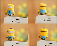Wholesale 3D Eyes Despicable Me Mobile phone mm Anti Dust Earphone Jack Dustproof Plug Stopper Precious Milk Dad capsules yellow people plug