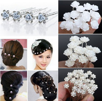 Bohemian Women's Party 40PCS Wedding Bridal Pearl Hair Pins Flower Crystal Hair Clips Bridesmaid Hair Accessories 5 Styles U Pick [JH03001-5]
