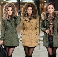 Acheter Lignes de capot-Hiver dame détachable gros manteau de fourrure manteau, armée faux vert laine doublure manteau veste, manteau de mode de porter, manteau de dame, manteau d'hiver dame