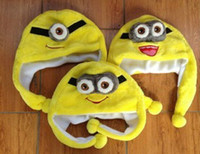3-4 Years anime animal hats - Super Cute Despicable Me Minions plush hats Jorge Dave Stewart Soft Cosplay hats Plush Cap Hat