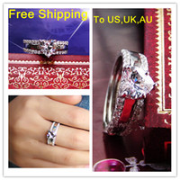 Wholesale Luxury K white gold plated jewelry mount simulate diamond Ring wedding band women sterling silver engagement promise ring set