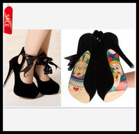 Wholesale 2013 Newest Upgraded Ways Bow Microfiber with ribbon cartoon print sole heel shoes pumps colors black red wedding shoes size to