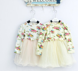 Wholesale Autumn models girls dress flower long sleeve dress baby girl dress children skirt kid girl dress