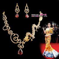 Wholesale gold diamond dragon phoenix wedding bride necklace earings set xax