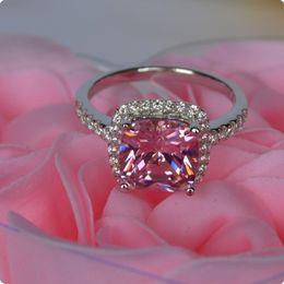 3 Ct Cushion Shape Pink Wedding Engagement Classic Princess Cut simulate Diamond Halo Style SONA diamond ring