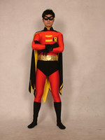 Wholesale Amazing Halloween lycra spandex zentai cosplay black robin wing S XXL