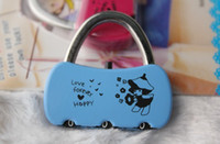 Wholesale Resettable Digit Combination Mini lock fashion small padlock lock luggage lock colors A0086