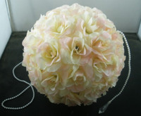 Wholesale Hot Sell inch Wedding Decor Romantic Super Flower Kissing Ball Cream Pink Pearl Tip