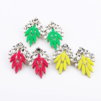 Wholesale 2013 New Fashion Statement Earrings Stud Crystal Rhinestone Gemstone Neon Resin Green Yellow Red Leaf Big Unique Jewelry For Women FE019