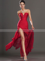 Sheath/Column Sexy Ruffle Actual Images 2013 Sweetheart Red Prom Dresses Split Front Beaded Formal Evening Dress Discount Off