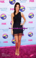 Real Photos Satin Sexy DressSale - Kendall Jenner One-Shoulder Lace Navy Blue Short Celebrity Dresses Teen Choice Awards 2012