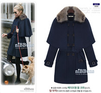 Wholesale New Autumn Winter Women Girls Fashion Detachable Cape Coats Noble Ladies Double breasted Woolen Overcoats With Waistband