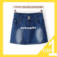 Chiffon Above Knee Women 2013 New Women's Casual Two Buttons With Pockets Denim Skirt, Washed Milling White Slim Skirt M L C0115