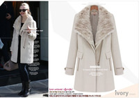 Wholesale 2014 New HOT Fashion Winter warmth Women s Fur collar Two wear outerwear wool coat Outwear