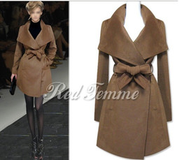 Wholesale 2014 New HOT Fashion Winter warmth Women s Large lapel Belt Long outerwear wool coat Outwear