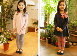 2016 New Girl's long sleeve stripe Butterfly knot T-shirt + Girl stripe Butterfly knot Leggings 5pcs lot