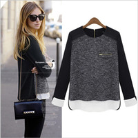 Wholesale 2014 Autumn New Arrival Women s O Neck Zipper Back Knitted Sweater with Chiffon Color Block Fashion T Shirts
