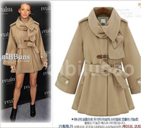 Wholesale 2014 New HOT Fashion Winter warmth Women s gossip girl Lapel Long outerwear wool coat Outwear