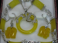 Asian & East Indian Women's Gift Charming Silver yellow jade Elephant pendant bracelet earring set